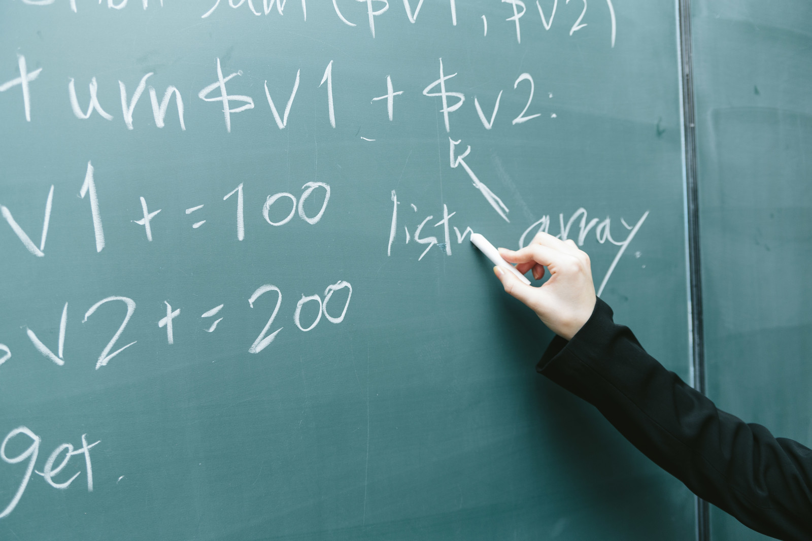 「黒板に書かれたコード」の写真