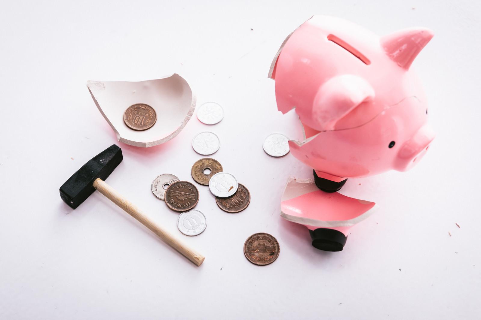 「月末でお金がなくて貯金箱を破壊するがほとんど入ってなかった(ショック)」の写真