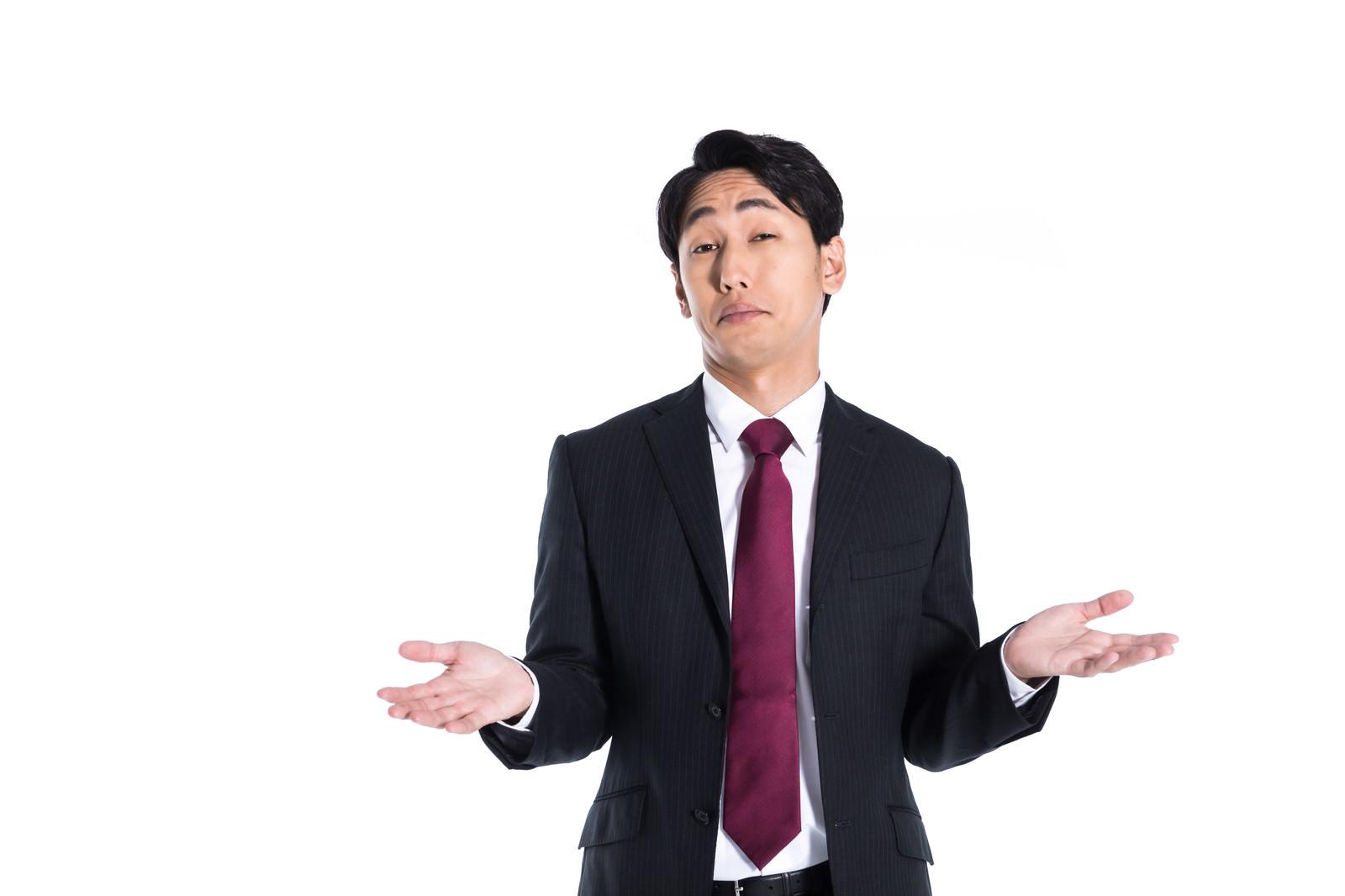 「NO~NO~ オーバーリアクションを取る男性」の写真[モデル:大川竜弥]