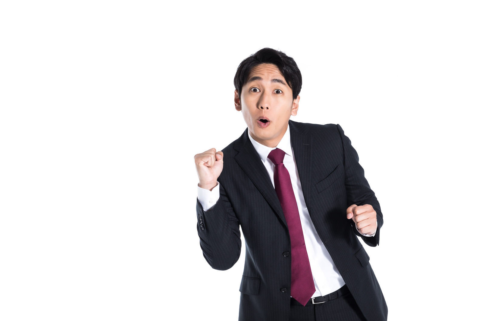 「応援に力が入る会社員」の写真[モデル:大川竜弥]