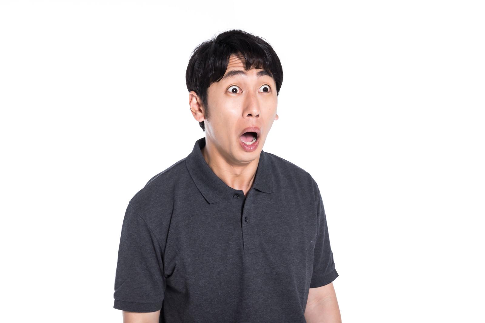「開いた口が塞がらない男子」の写真[モデル:大川竜弥]