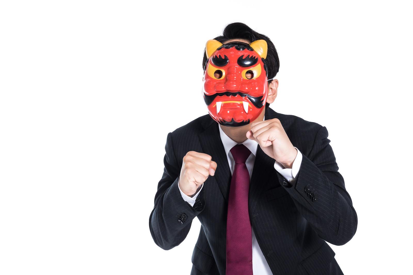 「戦う気まんまんな匿名の鬼」の写真[モデル:大川竜弥]