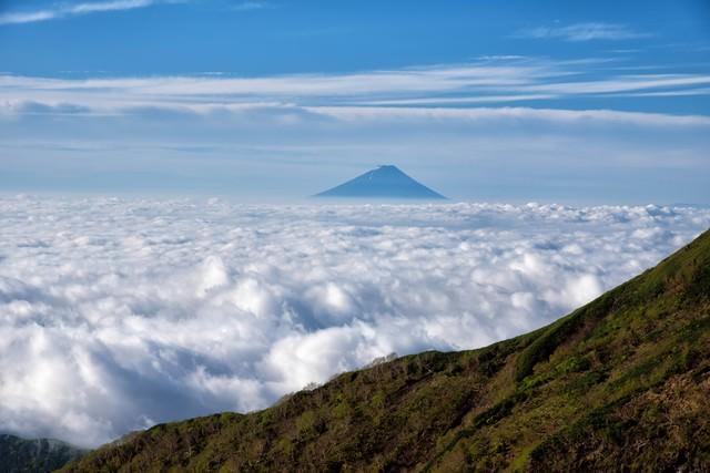 大雲海と富士山の写真