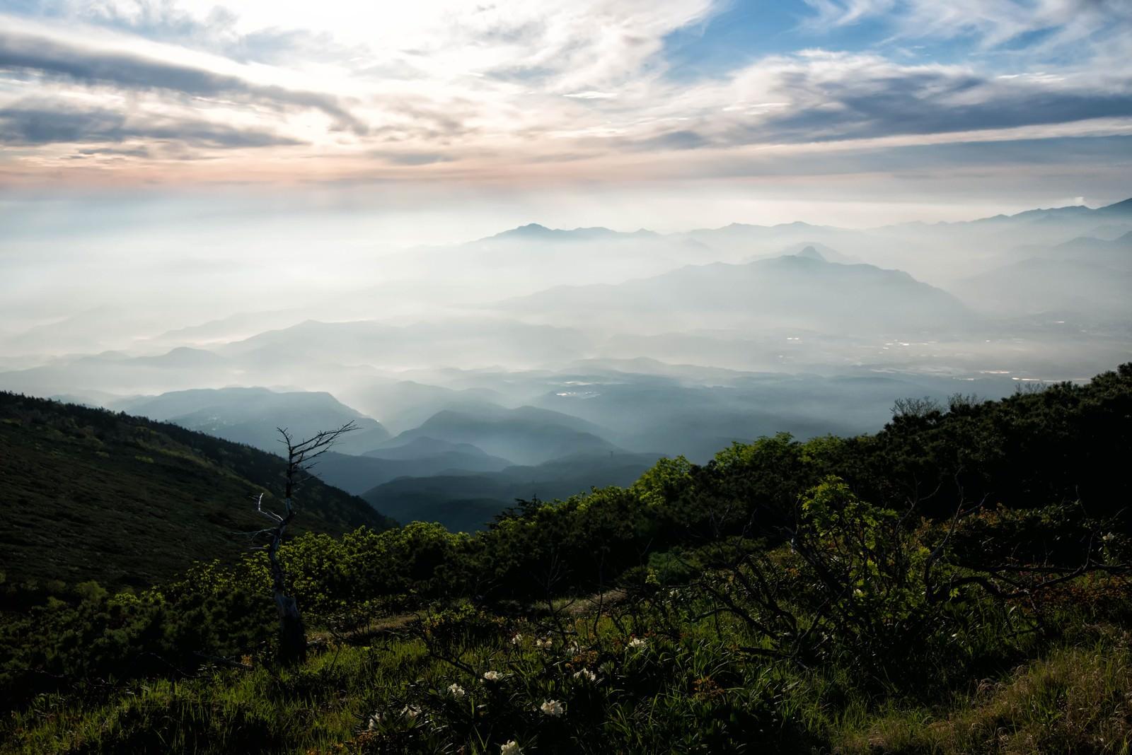 「清里高原から望む朝の霞」の写真