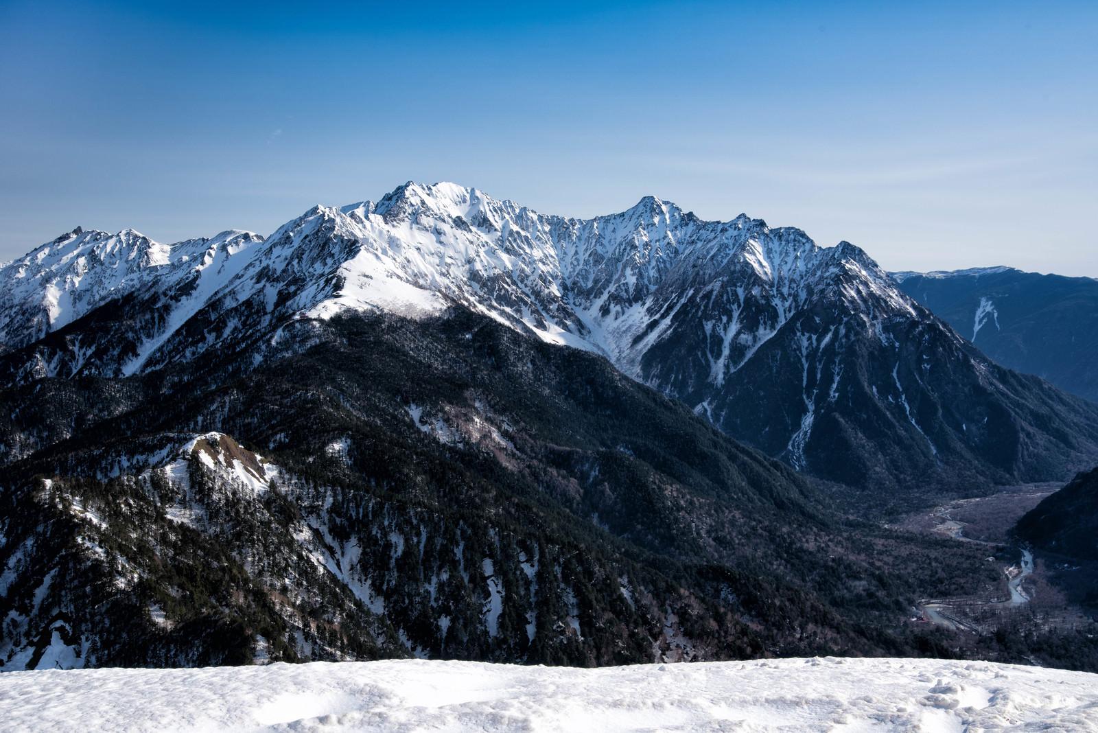 「春なお雪深い穂高連峰」の写真