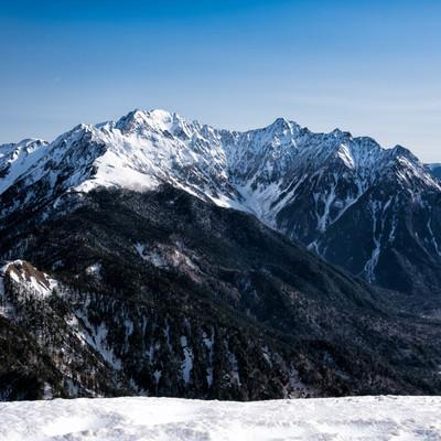 春なお雪深い穂高連峰の写真