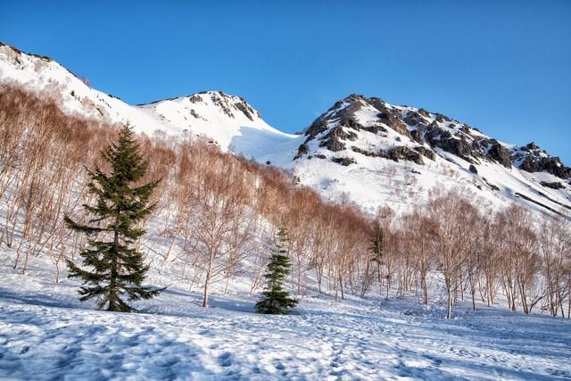 焼岳の北峰と南峰の写真
