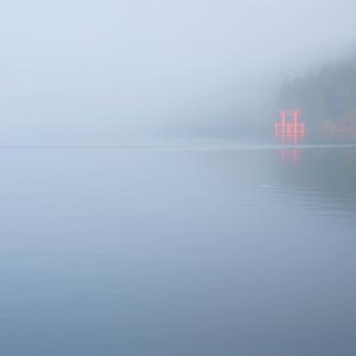 霧から浮かび上がる箱根神社の鳥居の写真