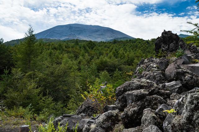 浅間山大噴火の溶岩の凝固地帯の写真
