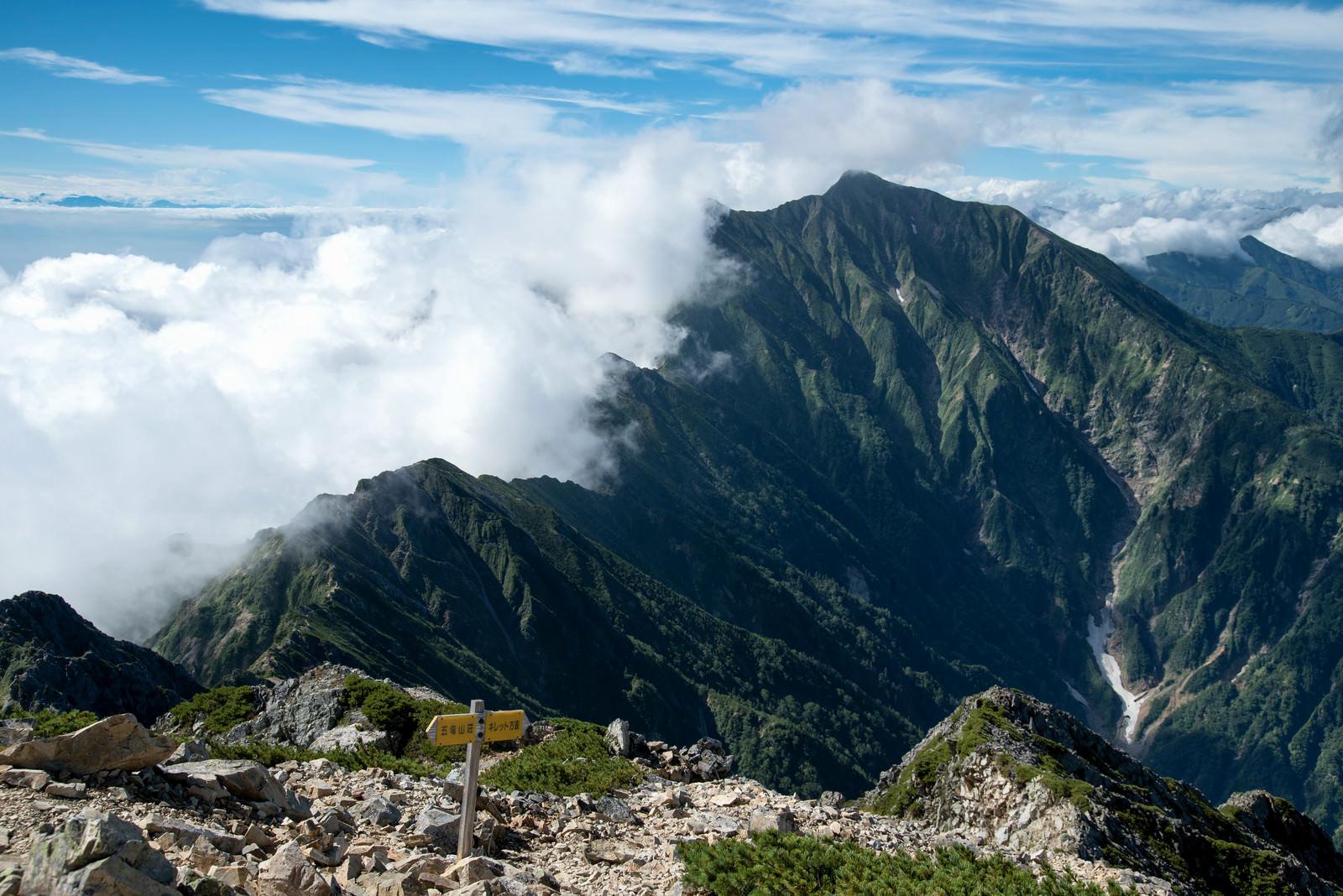「登山道の指導標と稜線」の写真