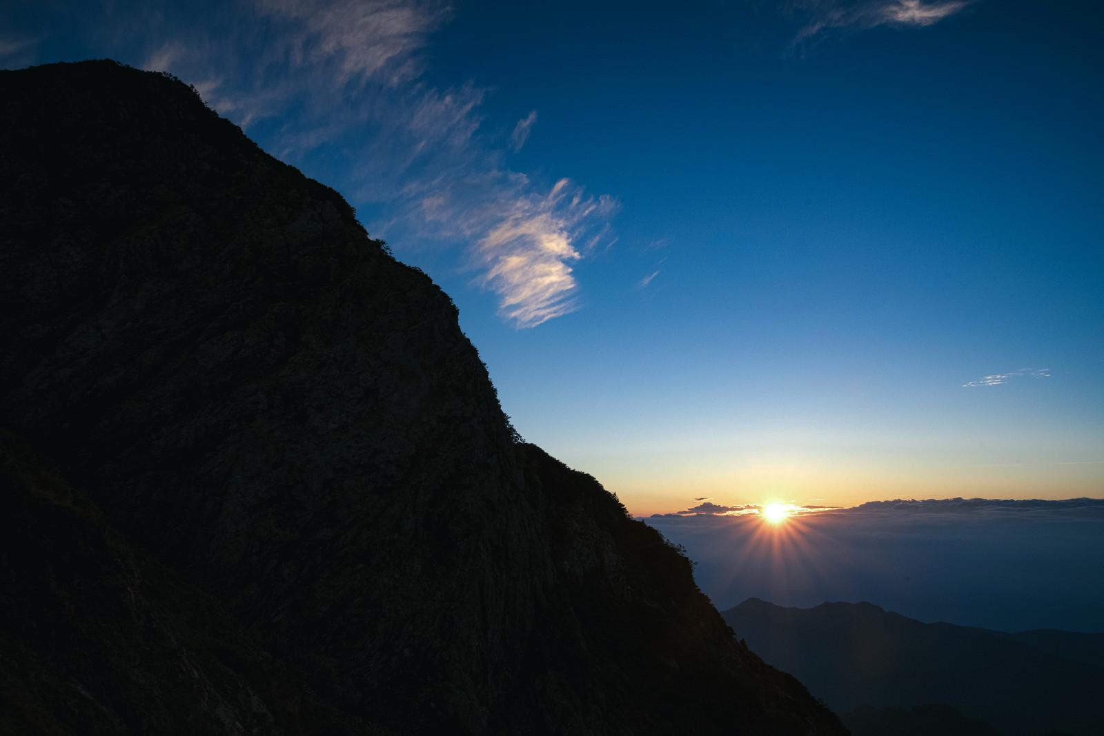 夜明けの太陽と朝焼けのフリー素材