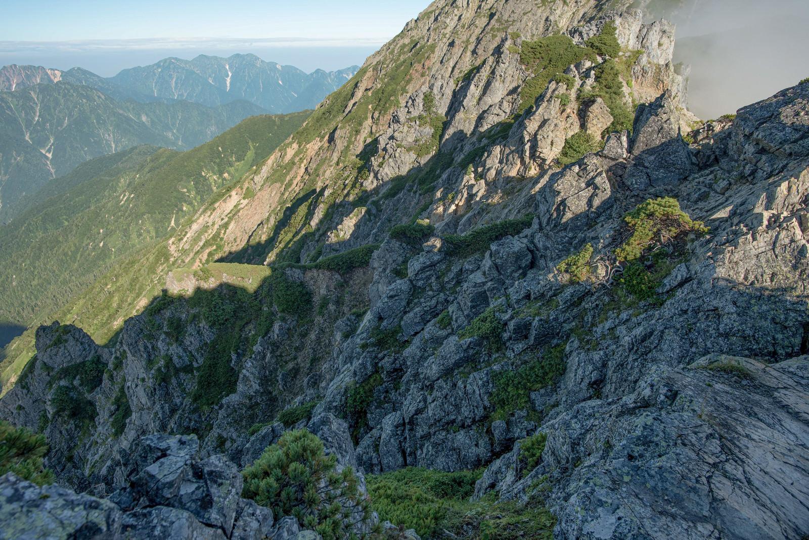 「登山道から見下ろした岩稜の影」の写真