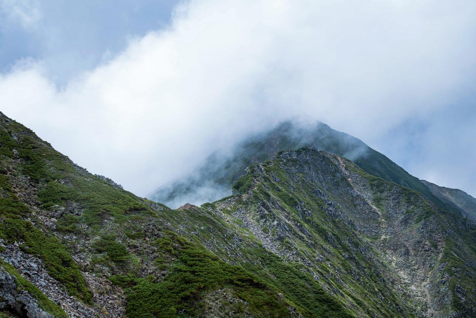 「稜線を飲み込む大量の雲」の写真