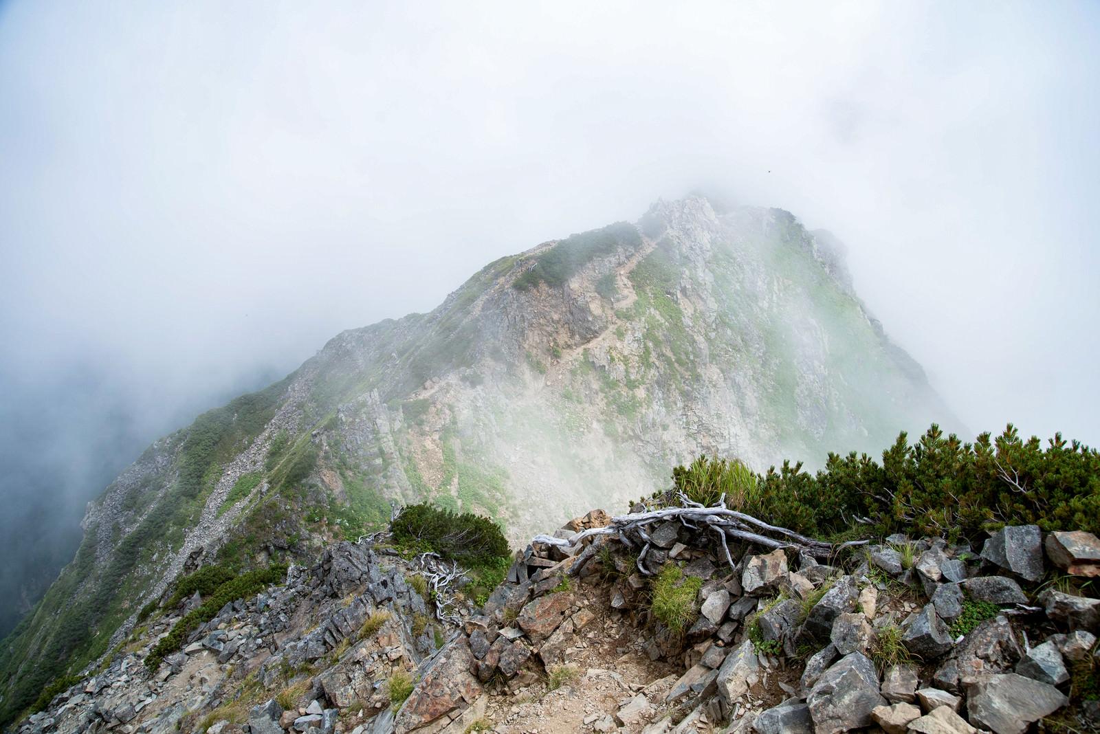 「沸き立つ雲に覆われる足場の悪い登山道」の写真