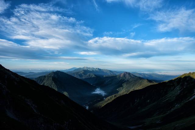 上高地を囲む山々の景色の写真