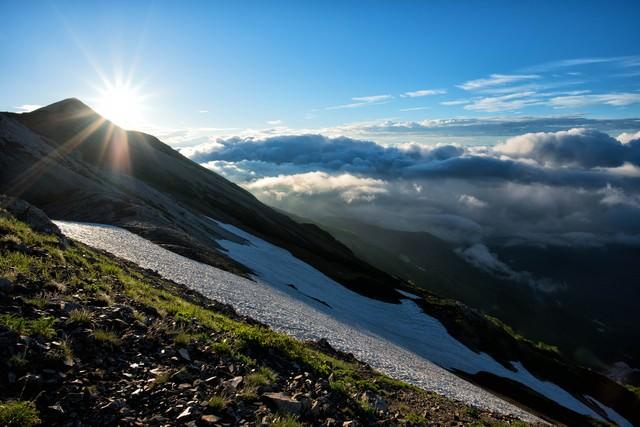 北アルプスの稜線歩きの写真