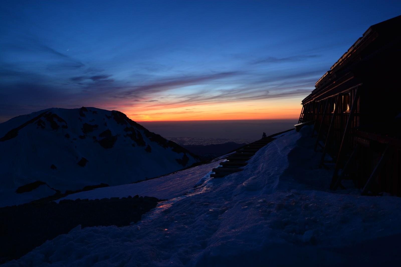「白馬山荘の夕日」の写真
