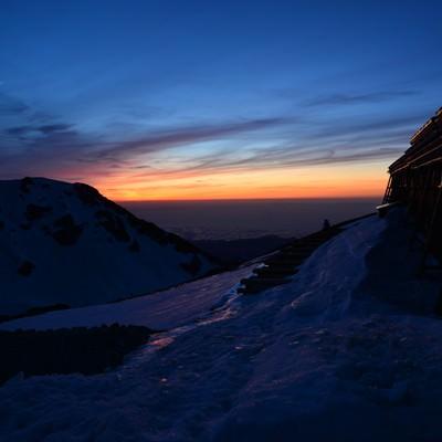 白馬山荘の夕日の写真