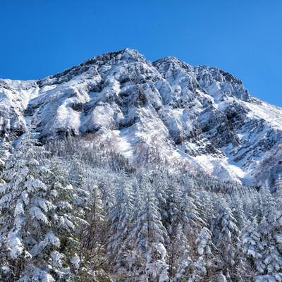 凍り付く赤岳主稜の写真