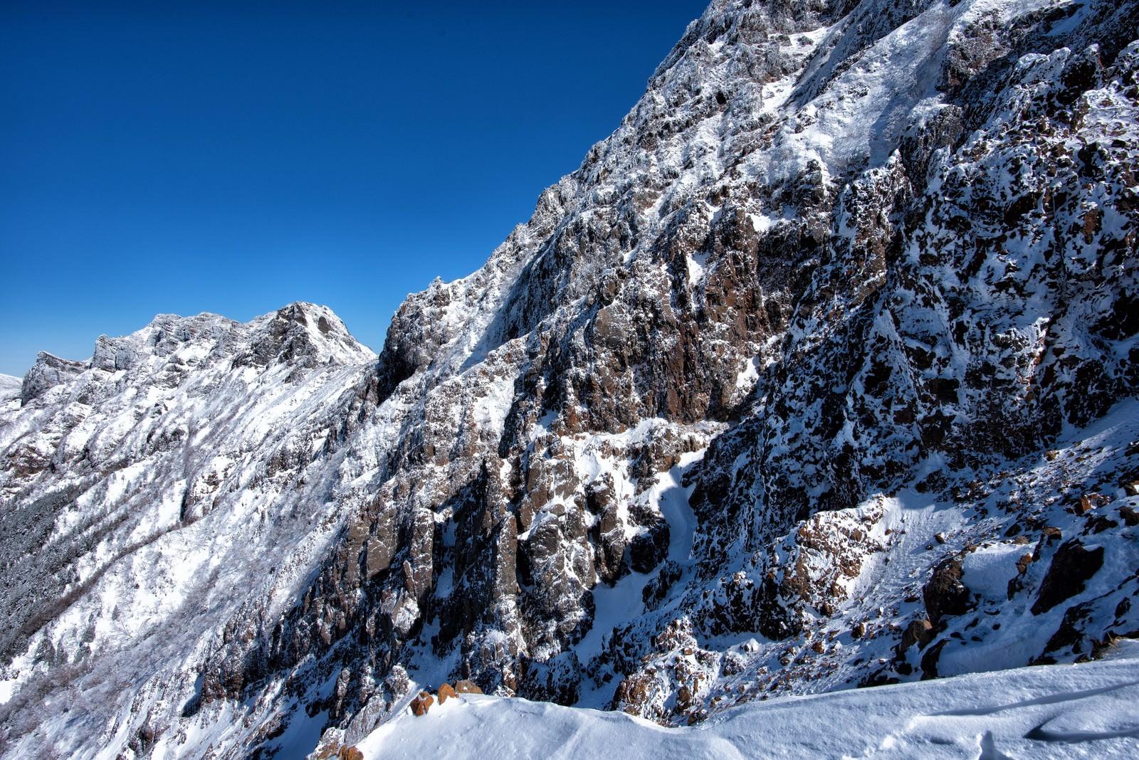 「赤岳の岩壁(冬)」の写真