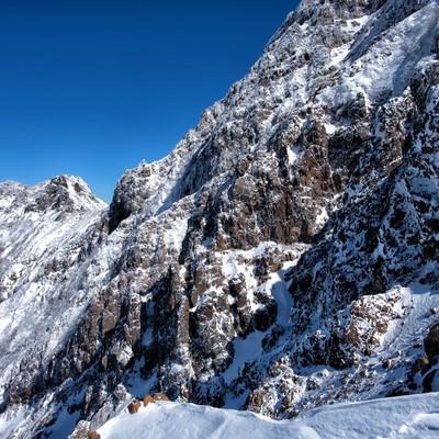 赤岳の岩壁(冬)の写真
