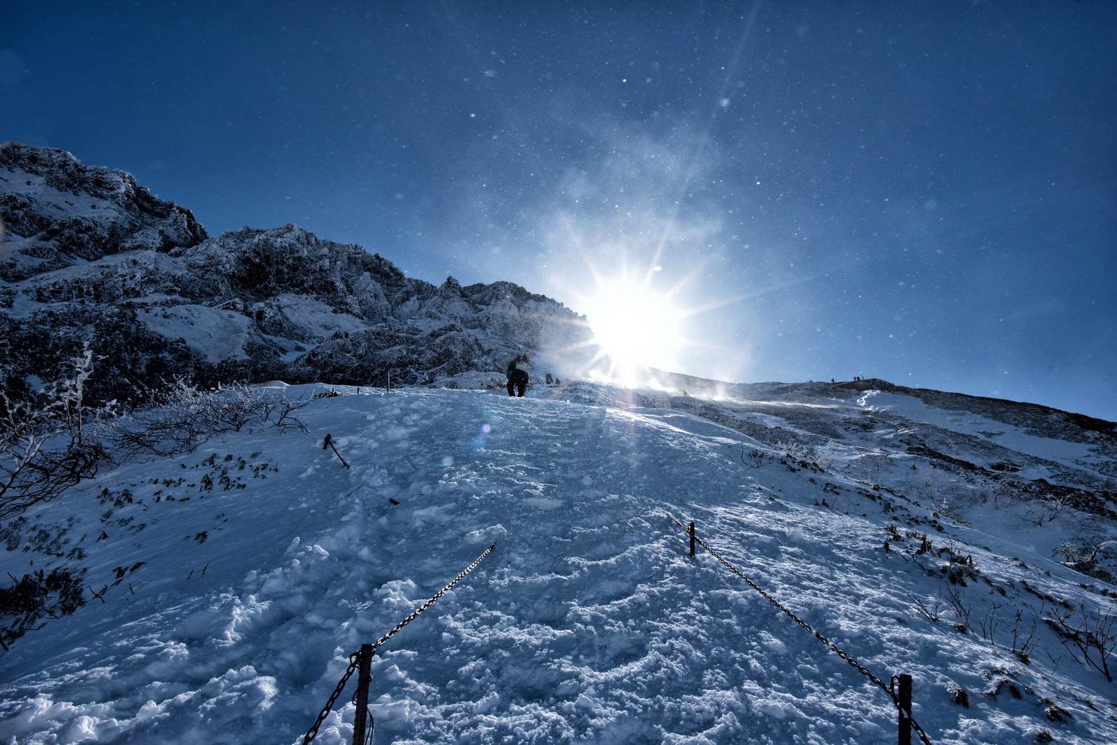 「雪煙舞う稜線」の写真
