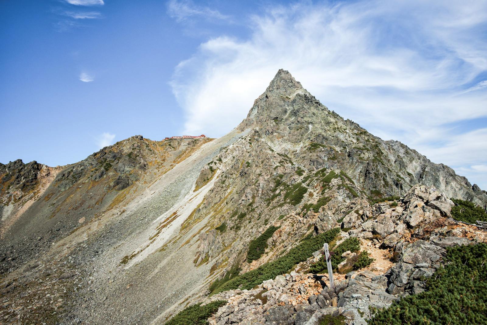 「東鎌尾根から見上げる槍ヶ岳(飛騨山脈南部)」の写真