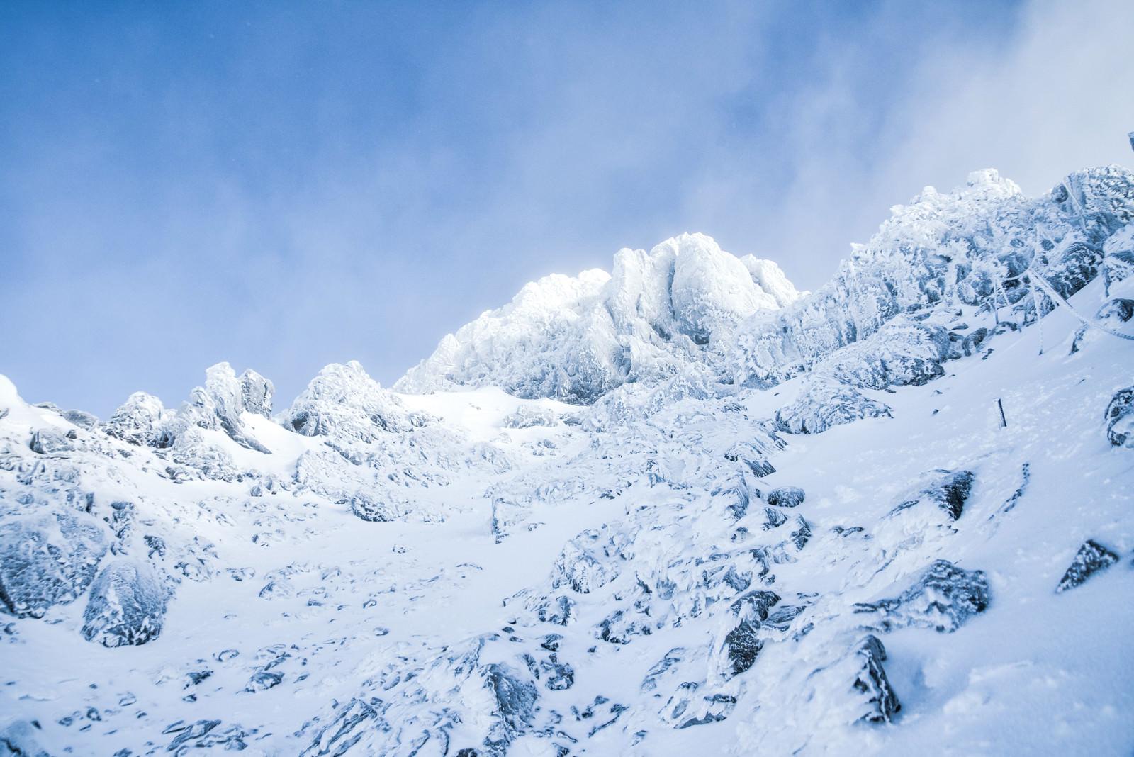 「文三郎尾根から見上げた赤岳山頂(八ヶ岳連峰)」の写真