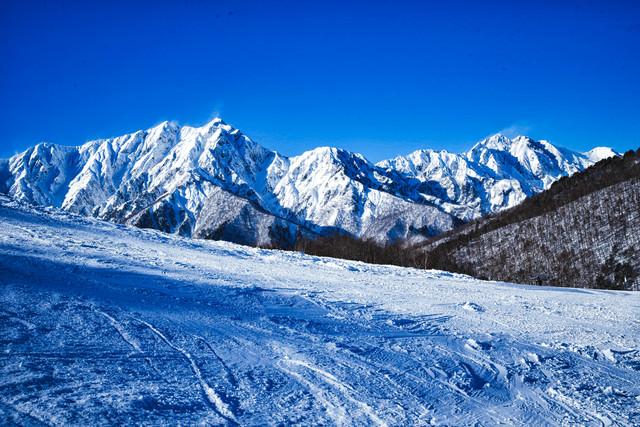 雪化粧した鹿島槍ヶ岳と爺ヶ岳の写真