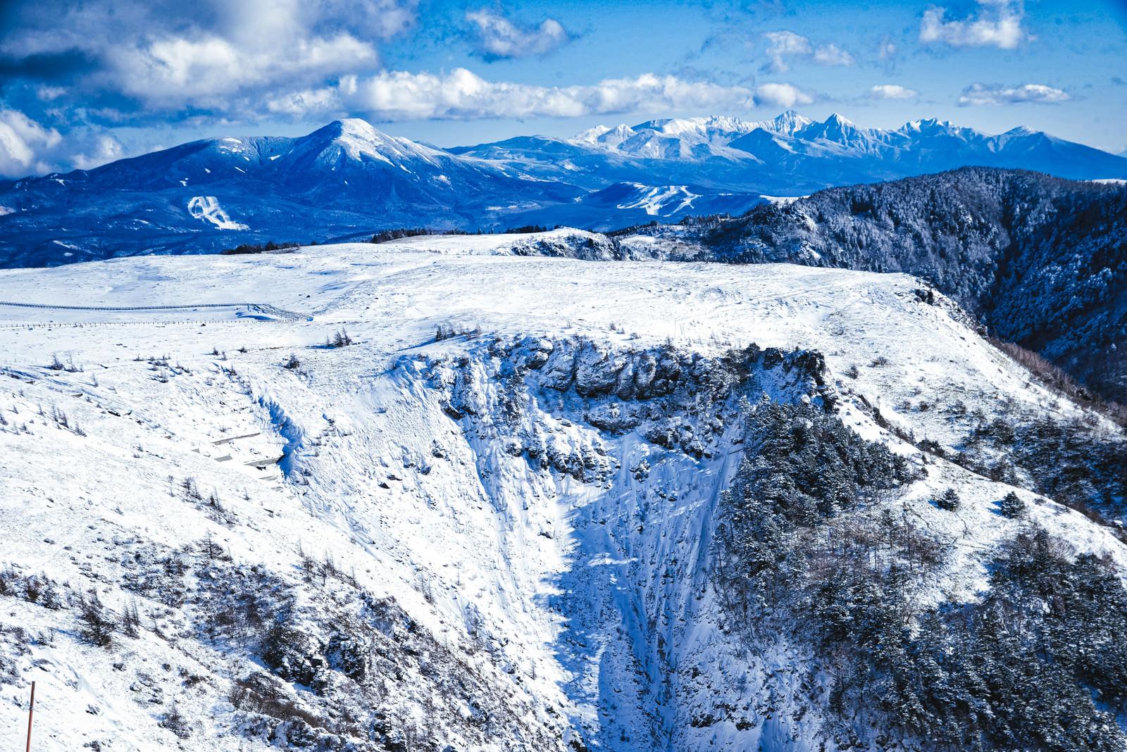 「冬の美ヶ原高原と八ヶ岳」の写真