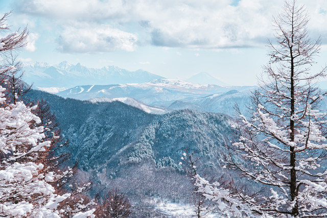 一月の美ヶ原から見える絶景(富士山方面)の写真