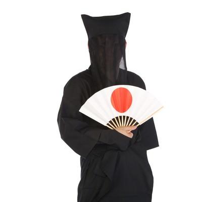 「日の丸の扇子を持った黒子さん」の写真素材