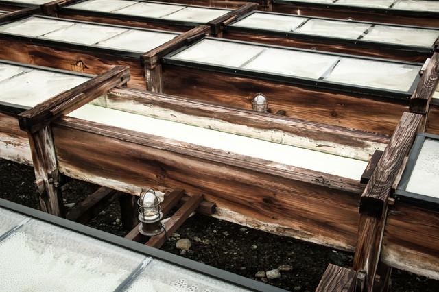 湯畑の木の樋の写真