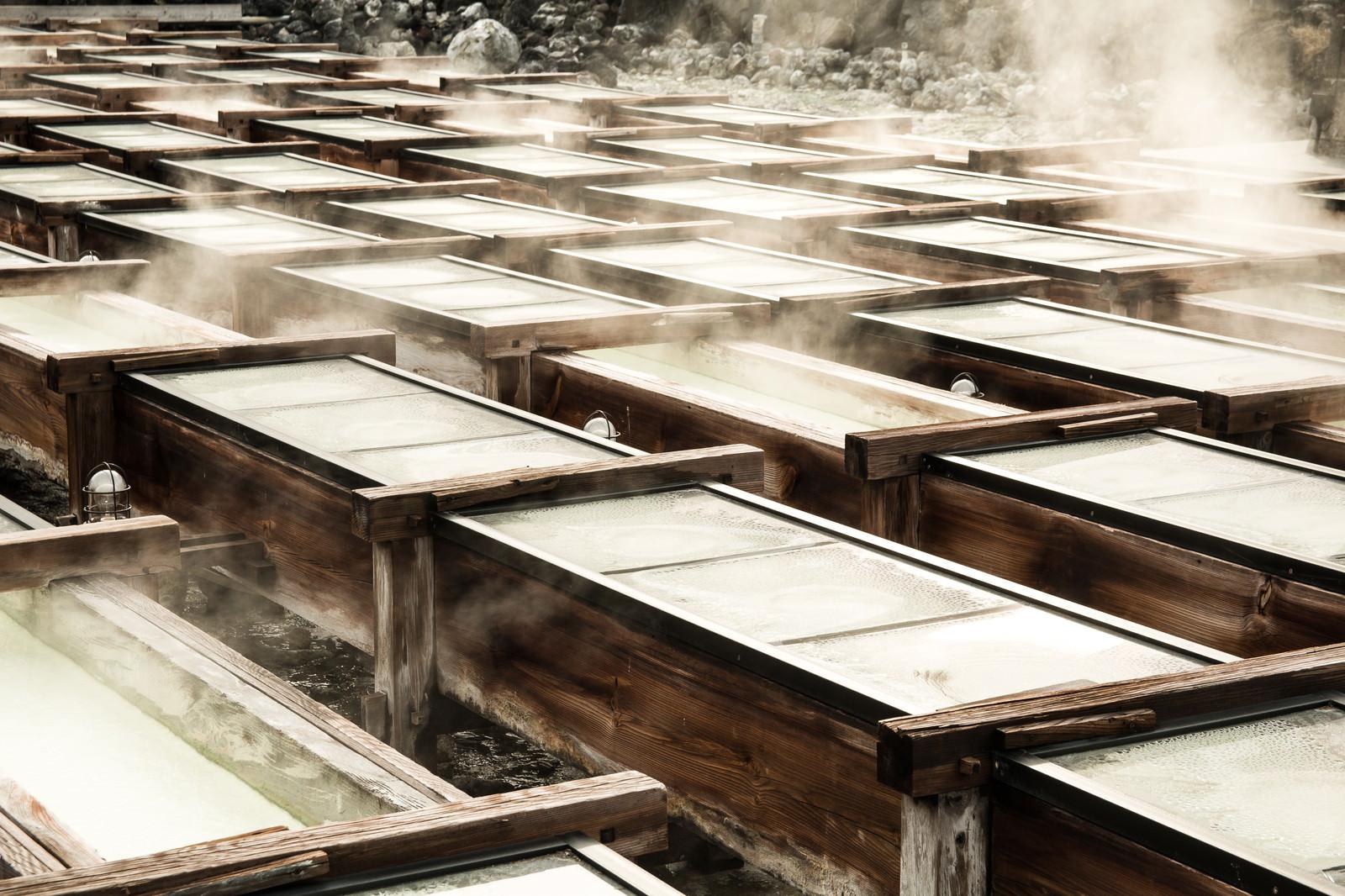「草津温泉の湯畑の様子」の写真