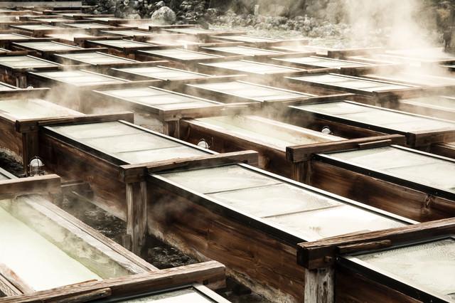 草津温泉の湯畑の様子の写真