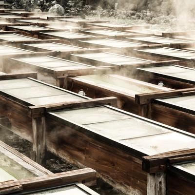 「草津温泉の湯畑の様子」の写真素材