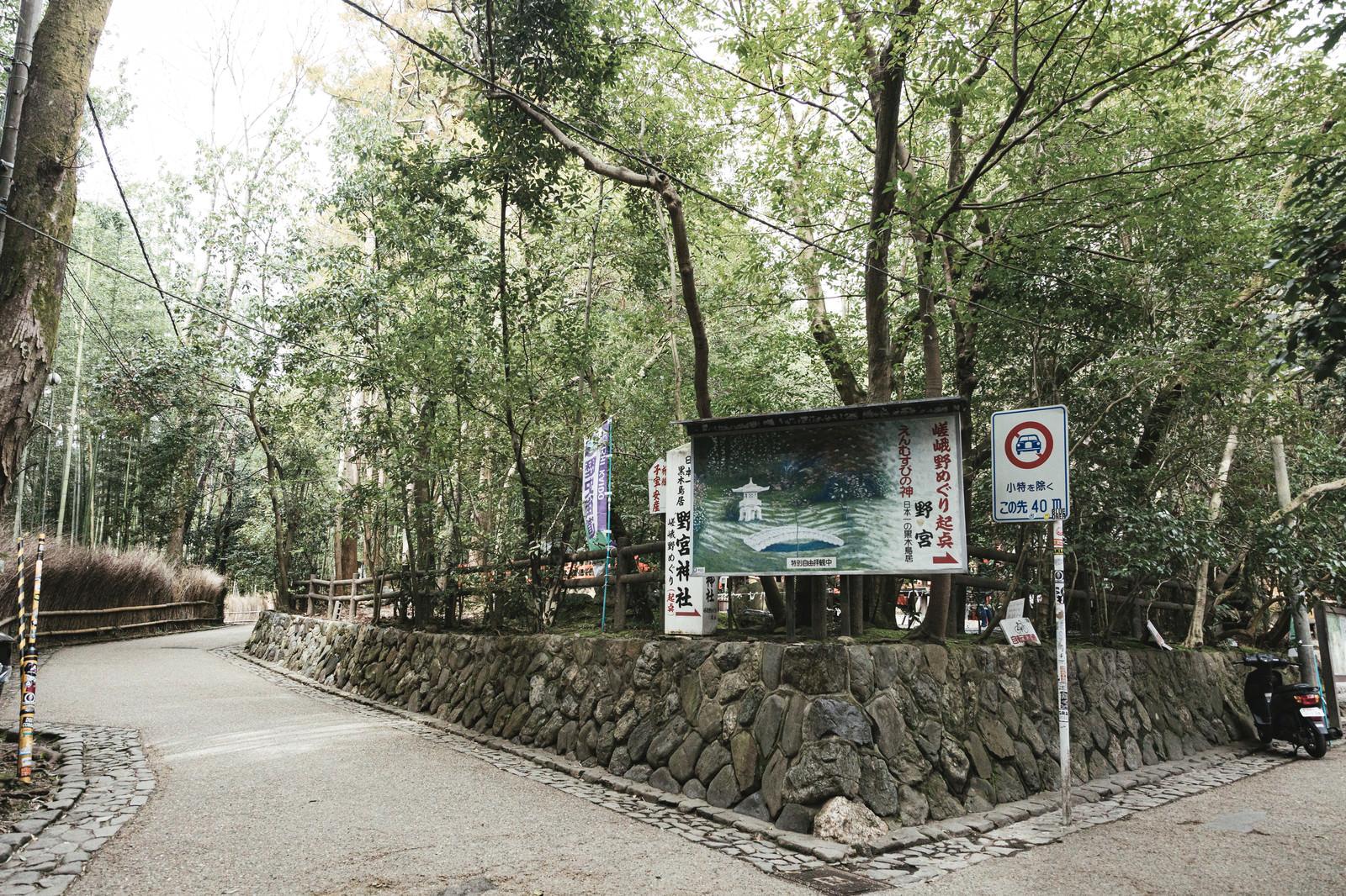 「京都嵐山の野宮神社前」の写真