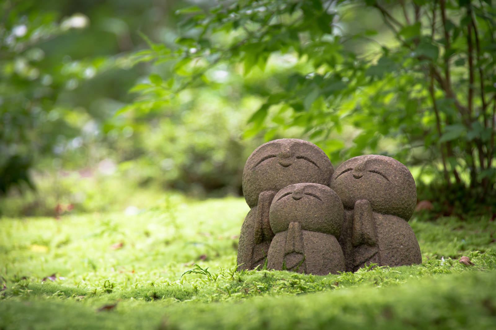 「深い苔の絨毯の上でほほえむ詩仙堂の小さなお地蔵様」の写真