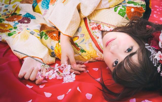 桜散る毛氈に寝転がる振袖美女の写真