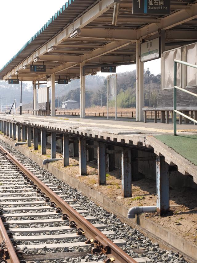 旧野蒜駅のホームの写真