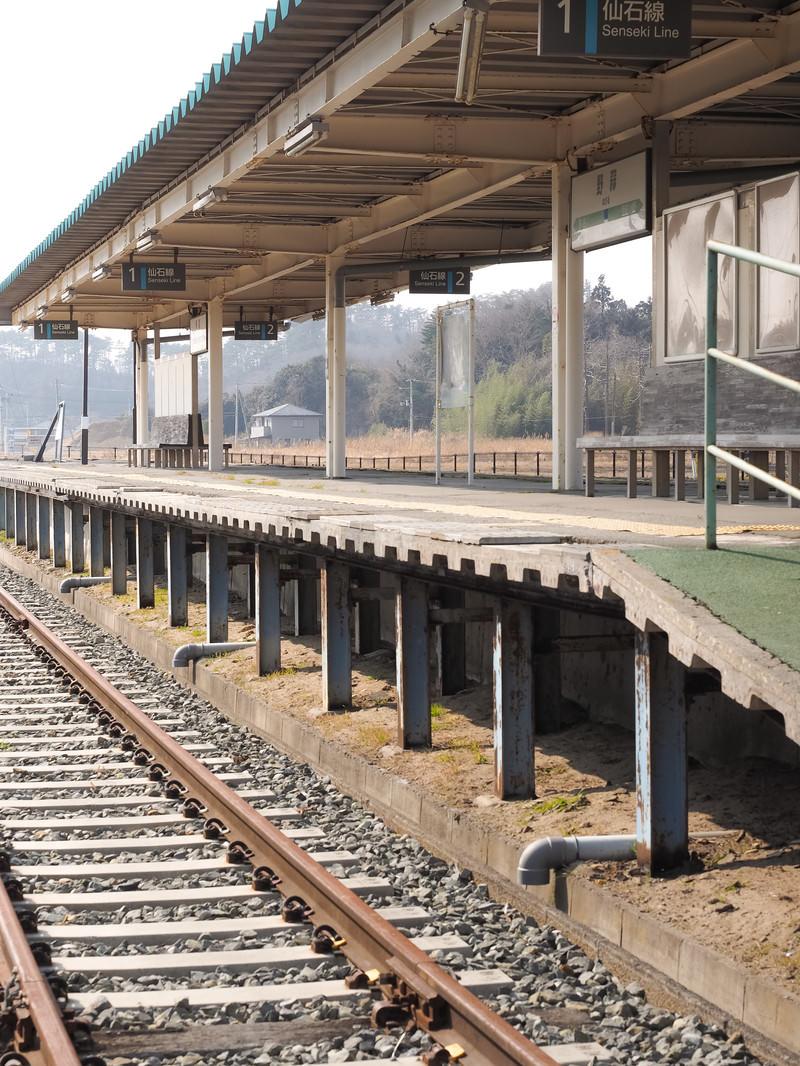 「旧野蒜駅のホーム」の写真