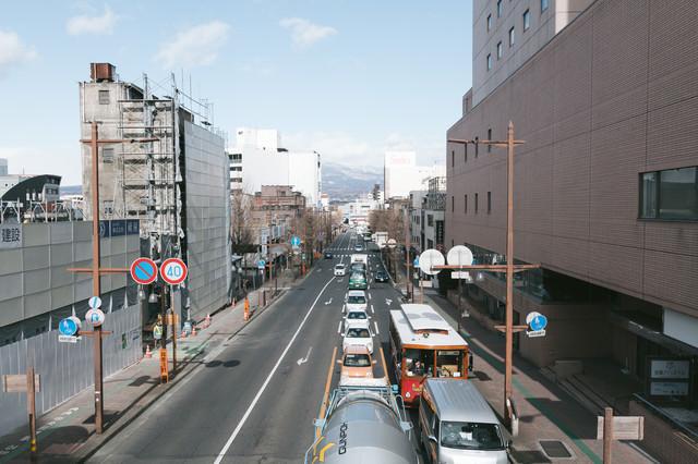 前橋駅前の交通量の写真