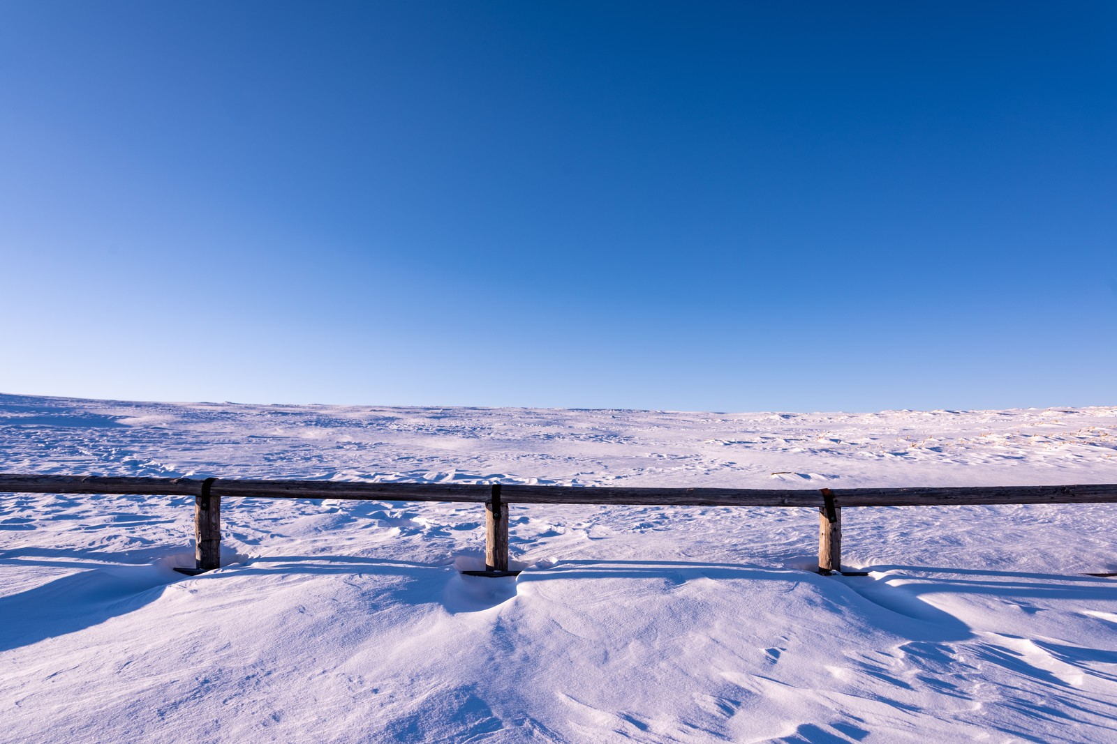 「雲一つない青空と雪原」の写真