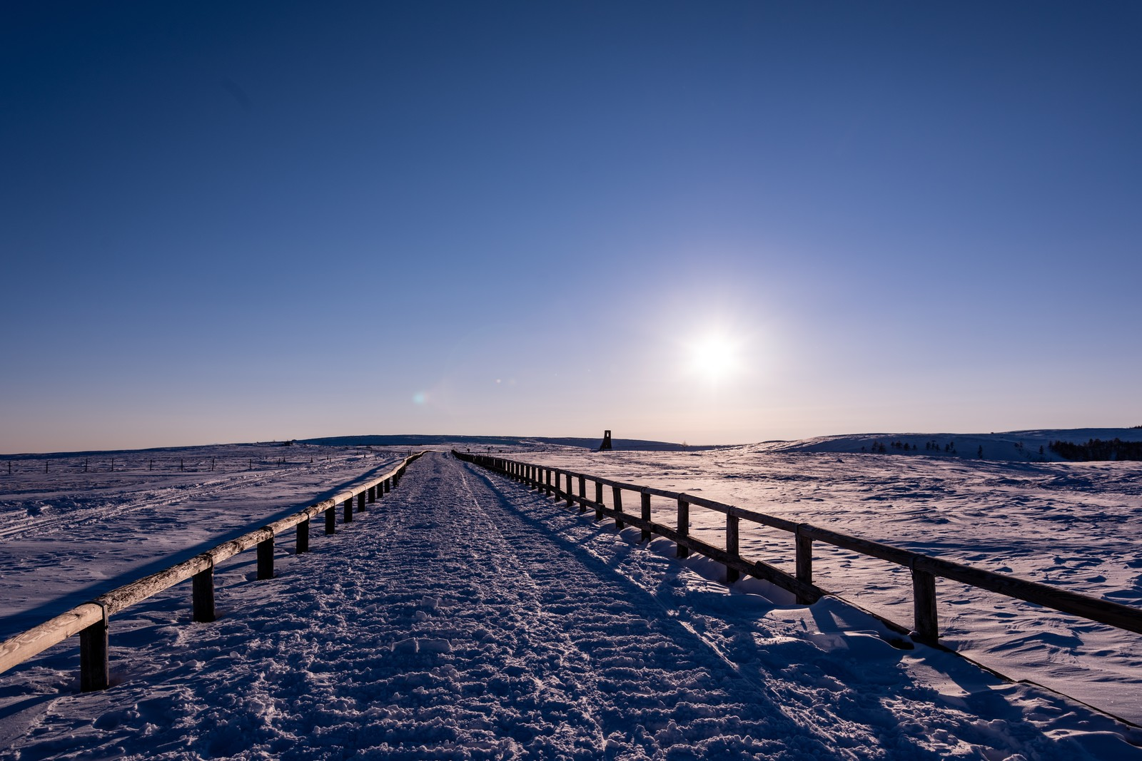 「どこまでも続く雪原の道」の写真