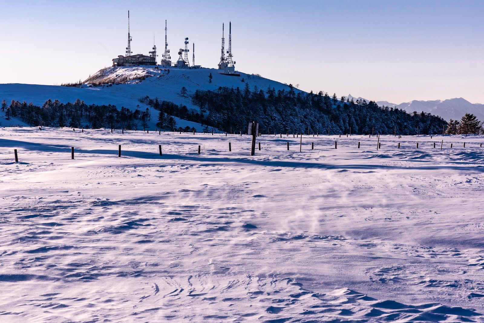 「雪化粧した電波塔」の写真