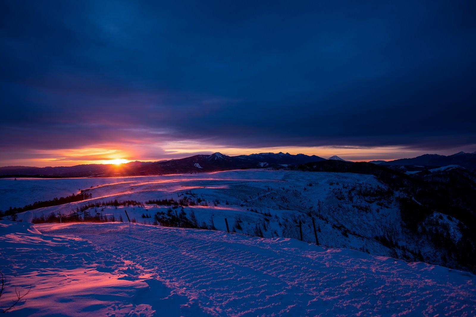 「夕日が照らす大雪原」の写真