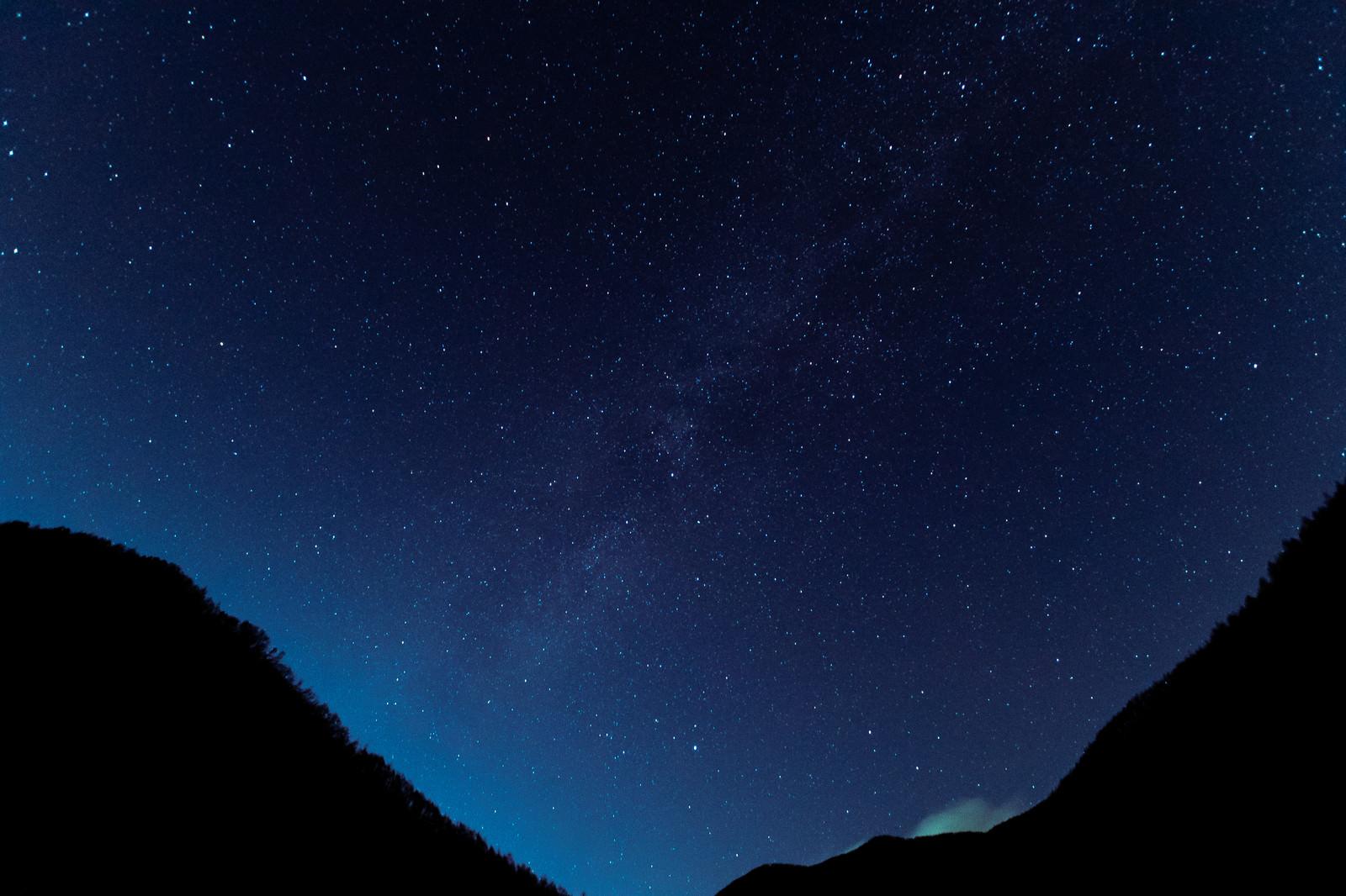 「竜ヶ沢ダムから見た天の川(巣栗渓谷)」の写真