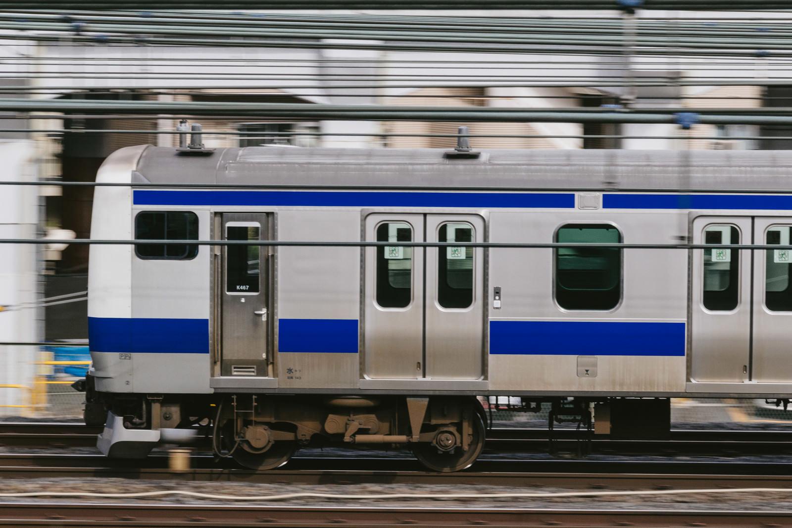 「走行中の常磐線」の写真