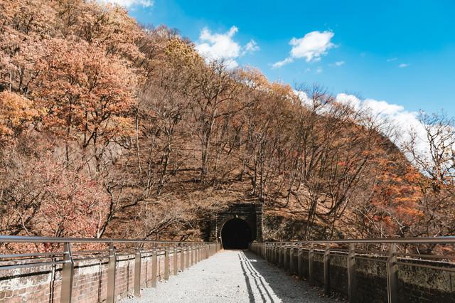 めがね橋上の鉄道トンネルに続く道の写真