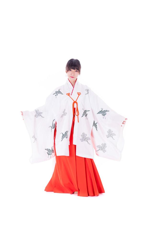 千早を羽織った緋袴姿の巫女の写真